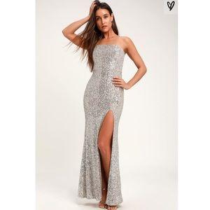 Lulus's strapless sequins maxi dress